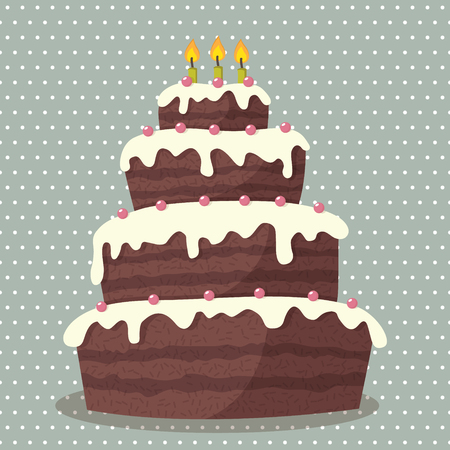 Birthday cake  illustration of cute Birthday cake with three candles Vector