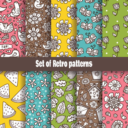Summer Retro pattern collection  Vector
