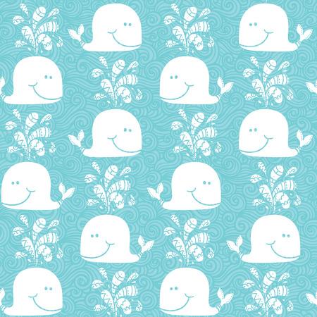 낙서 고래 패턴 원활한 벡터 낙서 패턴으로 파도 고래 고래