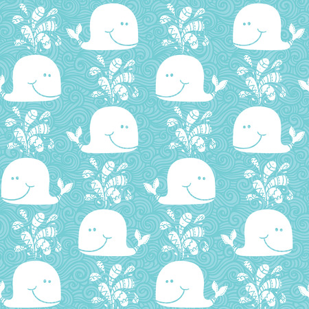 doodle whales pattern   Seamless vector doodle pattern with waves and funny whales Ilustrace
