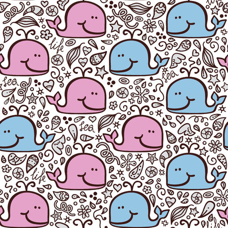 love doodle whales pattern   Seamless vector doodle pattern with waves and funny whales Vector