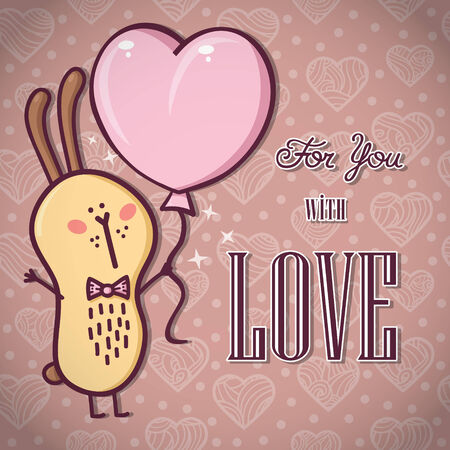 Romantic Rabbit card  Beautiful vector romantic card with adorable friendly rabbit Vector