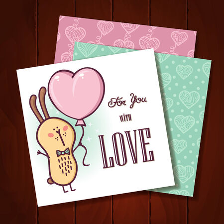 Rabbit love card  Beautiful vector romantic card with adorable friendly rabbit and hearts patterns Vector