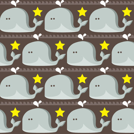funny simple whales pattern   Seamless vector doodle pattern with waves and funny whales Vector