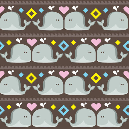 funny ethnic simple whales pattern   Seamless vector doodle pattern with waves and funny whales Vector