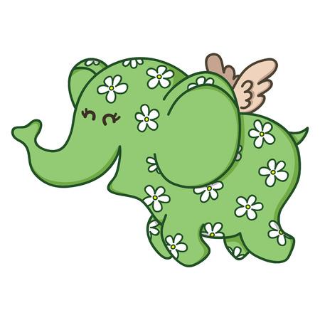 Cute doodle flying elephant Vector illustration of adorable cartoon elephant