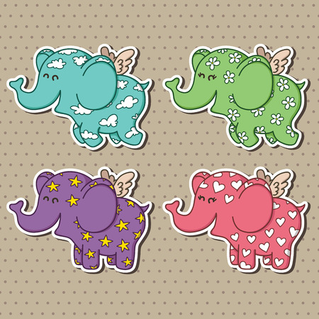 Cute doodle flying elephants collection Vector illustration of adorable cartoon elephant baby stickers for baby shower Illustration