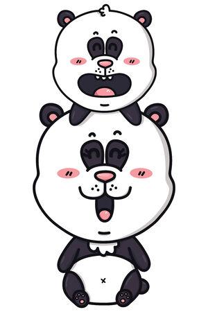 kawaii pandas  Vector illustration of happy cartoon mom and baby of panda