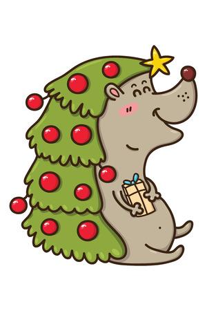 funny hedgehog  Vector illustration of kawaii Christmas hedgehog Vector
