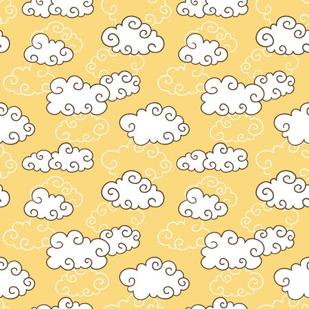 curly clouds pattern   Seamless vector doodle pattern with cute clouds Vector