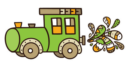 funny train. Vector illustration of cute train with doodle drops