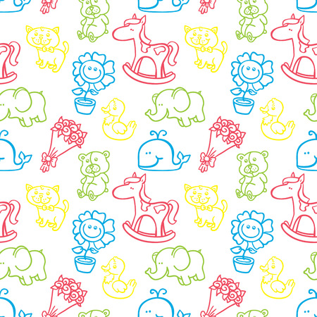 funny baby pattern. vector outline doodle seamless pattern for baby shower