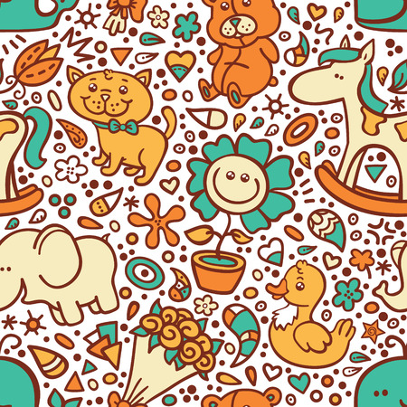 funny baby pattern. vector doodle seamless pattern for baby shower Vector