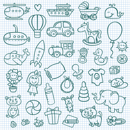 baby goods: funny baby icons.  doodle collection of hand drawn icons for baby shower