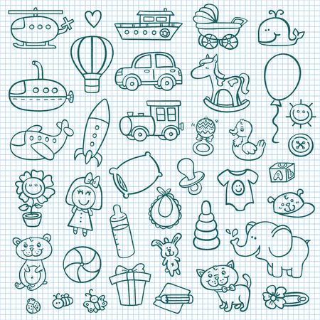 bebes: Iconos divertidos del bebé. Doodle colección de iconos dibujados a mano para baby shower Vectores