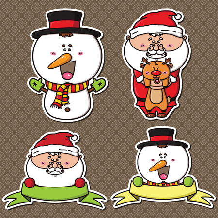 cute holiday set of winter characters stickers. Can be used as labels for sales, greeting card, baby shower, scrapbook Vector
