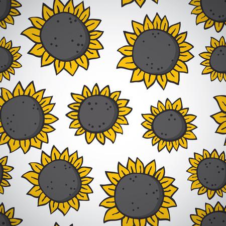 hand drawn sunflower pattern.
