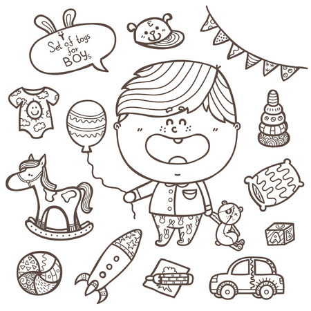 baby boy toys icons set. Vector illustration of doodle baby boy ornate  icons with little boy for babyshower Vector