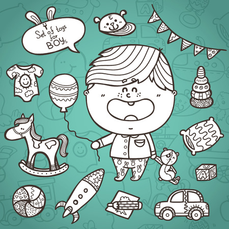 baby boy toys icons set. Vector illustration of doodle baby boy ornate  toys with little boy and seamless pattern on background