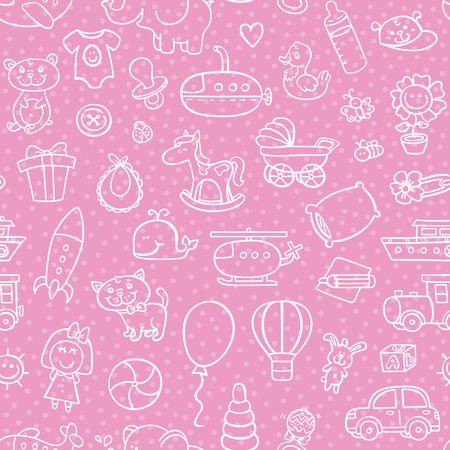 baby girl toys pattern. vector outline seamless pattern forgirl with toys