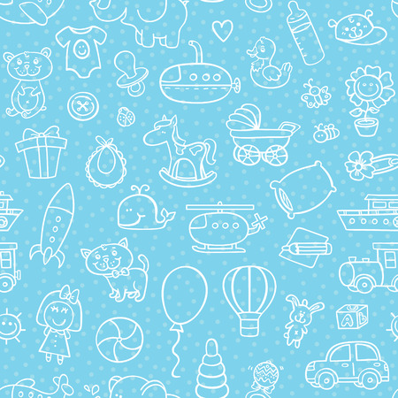 baby boy toys pattern. vector outline seamless pattern for boy with toys Ilustrace