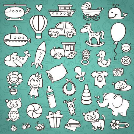 재미 아기 아이콘을 설정합니다. 손의 벡터 낙서 컬렉션 배경에 윤곽 원활한 패턴으로 아기 샤워에 대한 아이콘이 그려진