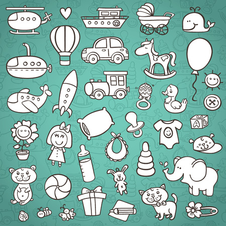 funny baby icons set. vector doodle collection of hand drawn icons for baby shower with outline seamless pattern on background Ilustrace
