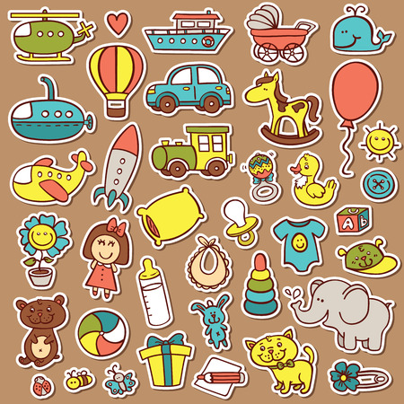 baby rattle: funny baby toys stickers set. vector doodle collection of hand drawn icons for baby shower or scrapbook