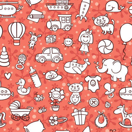 baby goods pattern. vector seamless pattern with toys and other baby goods for baby shower, textile, scrapbook, background Vector