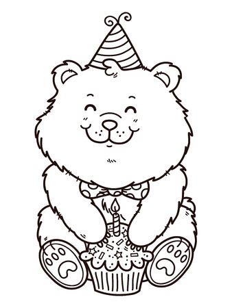 card making: happy birthday bear. Vector digital stamp of cartoon bear for card making, scrap-booking, coloring books