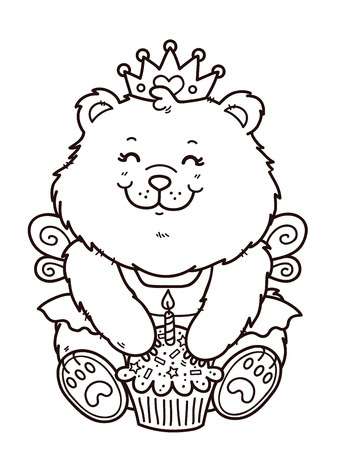 card making: happy birthday girl bear. Vector digital stamp of cartoon bear for card making, scrap-booking, coloring books