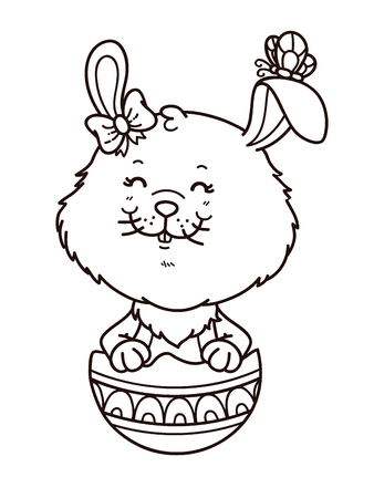 card making: happy Easter girl bunny. Vector digital stamp of cartoon bunny for card making, scrap-booking, coloring books Illustration