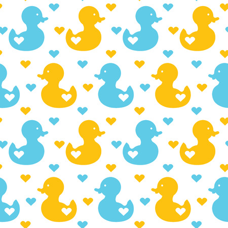 simple cute ducks seamless cute pattern with ducks and hearts Illustration