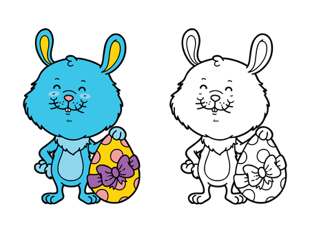 scrap book: funny boy bunny. Vector illustration coloring page of happy cartoon Easter bunny with Easter egg for children and scrap book