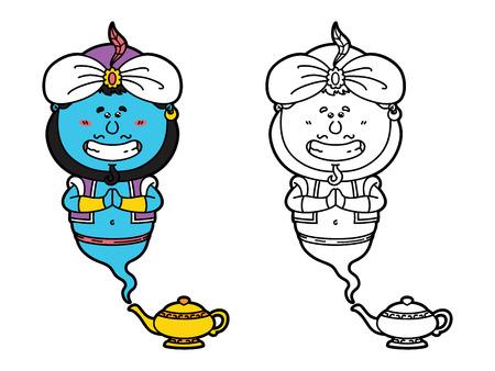 genio de la lampara: divertido Genie. Vector ilustraci�n de la p�gina para colorear de dibujos animados feliz Genie y su l�mpara m�gica para los ni�os y �lbum de recortes