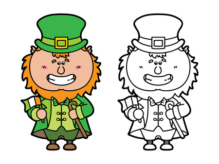 funny Leprechaun. Vector illustration coloring page of happy cartoon Leprechaun which is holding Irish flag for children and scrap book Vector