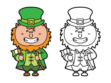 Leprechaun Divertido. Vector Ilustración De La Página Para Colorear ...
