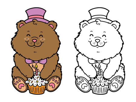 scrap book: happy bear. Vector illustration coloring page of happy cartoon bear with birthday cupcake for children and scrap book