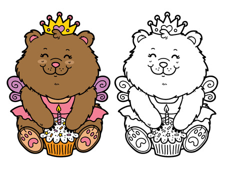 happy girl bear. Vector illustration coloring page of happy cartoon bear with birthday cupcake for children and scrap book Vector