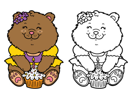 scrap book: happy girl bear. Vector illustration coloring page of happy cartoon bear with birthday cupcake for children and scrap bookhappy girl bear. Vector illustration coloring page of happy cartoon bear with birthday cupcake for children and scrap book