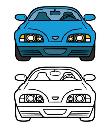blue car. Vector illustration coloring page of cartoon blue car for children and scrap book Vector