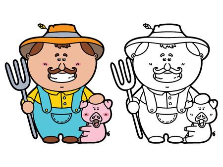 재미 농부. 어린이와 스크랩 책 갈퀴를 들고 행복 만화 친화적 농부의 벡터 그림 색칠 페이지