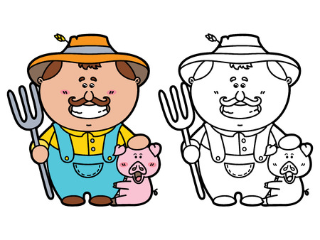 funny Farmer. Vector illustration coloring page of happy cartoon friendly Farmer holding a pitchfork for children and scrap book