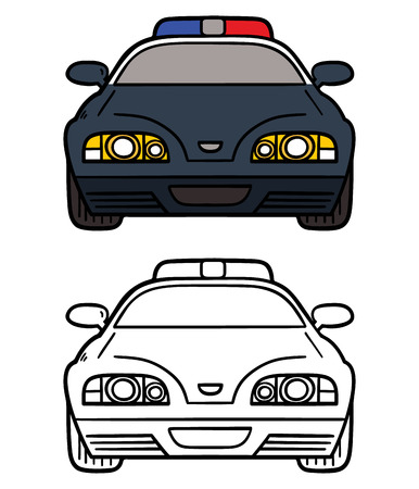 police line: police car. Vector illustration coloring page of cartoon police car for children and scrap book