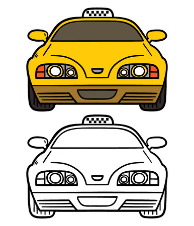 yellow cab. Vector illustration coloring page of cartoon taxi cab for children and scrap book Vector