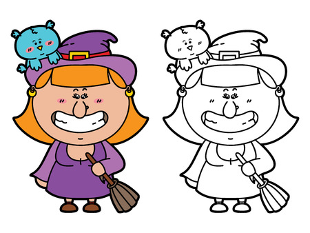 funny Witch. Vector illustration coloring page of happy cartoon Witch with broomstick  for children and scrap book Vector
