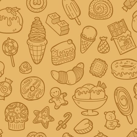 scrap book: doodle sweets pattern. Vector doodle seamless pattern with sweets for wallpaper, web page background, surface textures, textile, scrap book, design fabric, menu Illustration