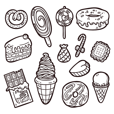 Sweets set. First part of vector hand drawn doodle sweets collection Illustration