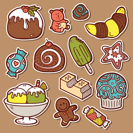 sweets stickers set. Second part of vector doodle collection of hand drawn sweets  icons Vector