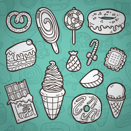 Sweets set. First part of vector doodle collection of hand drawn sweets icons with outline seamless pattern on background Vector